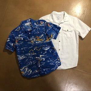 Boys L 2 Old Navy Shirts Hawaiian & White Linen
